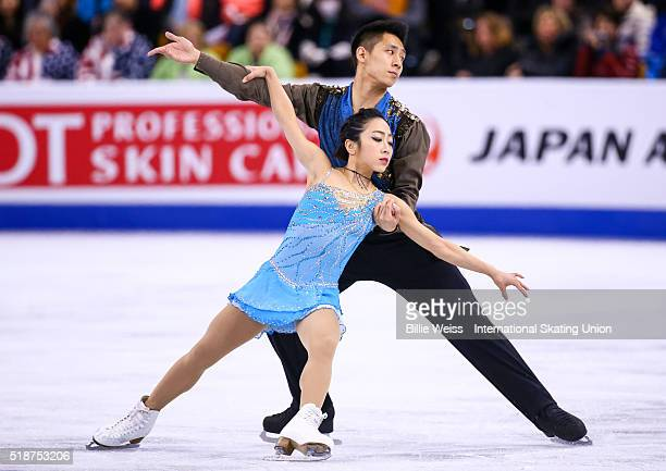 Wenjing Sui and Cong Han of China compete during Day 6 of the ISU World Figure Skating Championships 2016 at TD Garden on April 2 2016 in Boston...