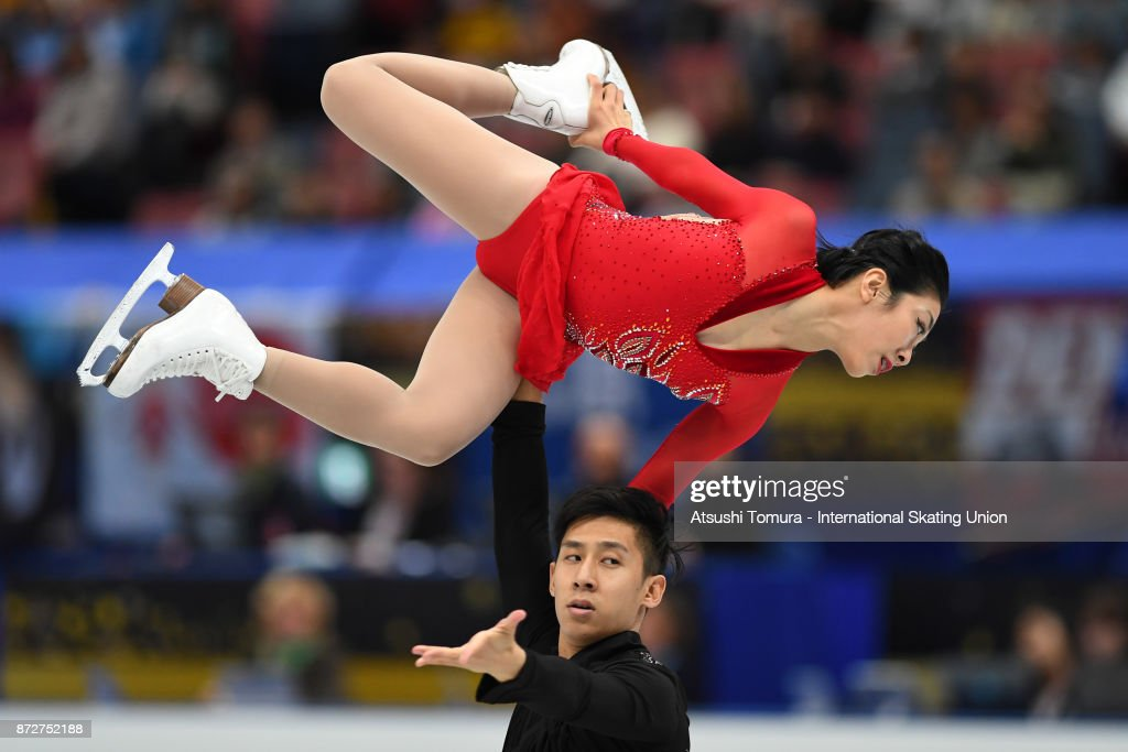 Wenjing Sui and Cong Han of China compete in the Pairs free skating during the ISU Grand Prix of Figure Skating at on November 11, 2017 in Osaka, Japan.
