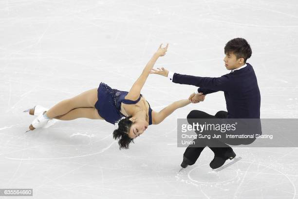 Wenjing Sui and Cong Han of China compete in the Pairs Short during ISU Four Continents Figure Skating Championships - Gangneung -Test Event For...