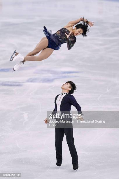 Wenjing Sui and Cong Han of China compete in the Pairs Short Program during day one of the ISU World Figure Skating Championships at Ericsson Globe...