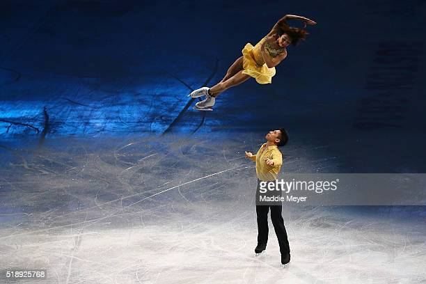 Wenjing Sui and Cong Han of China during the Exhibition of Champions on Day 7 of the ISU World Figure Skating Championships 2016 at TD Garden on...