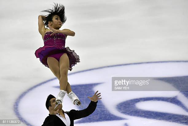 Wenjing Sui and Cong Han of China perform at the pairs short program during the ISU Four Continents Figure Skating Championships in Taipei on...