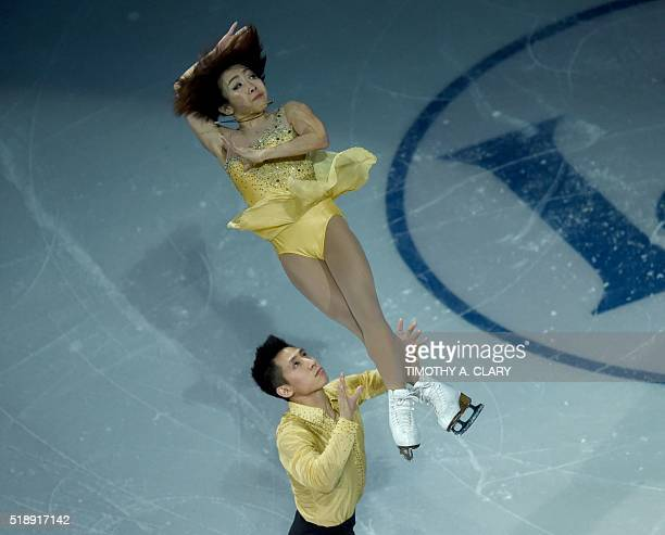 Wenjing Sui and Cong Han of China skate during the Exhibiton of Champions program at the ISU World Figure Skating Championships at TD Garden in...