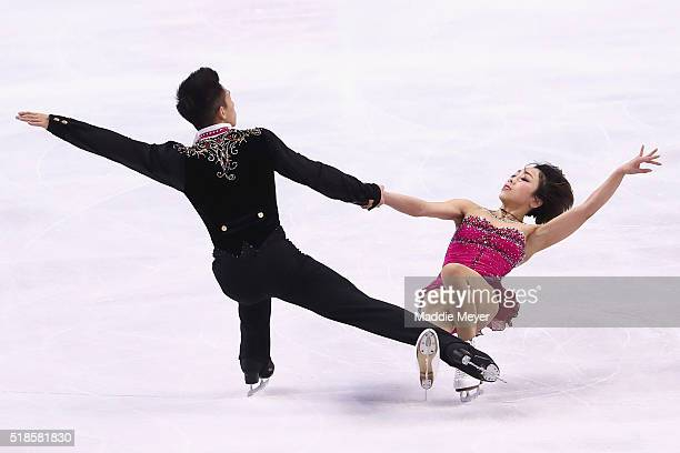 Wenjing Sui and Cong Han of China skate in the Pairs Short Program during Day 5 of the ISU World Figure Skating Championships 2016 at TD Garden on...