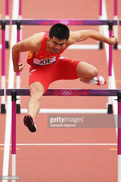 Wenjun Xie of China competes in the Men's 110m Hurdles Round 1 Heats on Day 11 of the London 2012 Olympic Games at Olympic Stadium on August 7 2012...