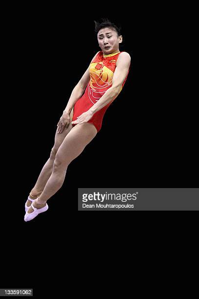 Wenna He of China competes in the Individual Trampoline Womens Final during the 28th Trampoline and Tumbling World Championships at National Indoor...