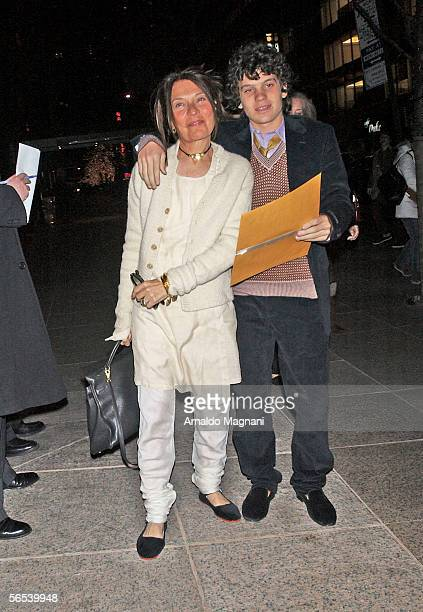 Wenner's exwife Jane Schindelheim and son arrive at the 60th birthday party for Jann Wenner editor and publisher of Rolling Stone magazine on January...