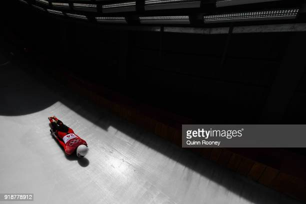 Wenqiang Geng of China slides during the Men's Skeleton heats at Olympic Sliding Centre on February 16, 2018 in Pyeongchang-gun, South Korea.