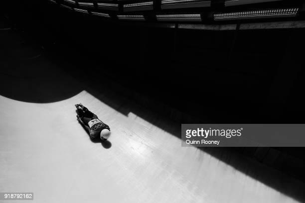 Wenqiang Geng of China slides during the Men's Skeleton heats at Olympic Sliding Centre on February 16 2018 in Pyeongchanggun South Korea