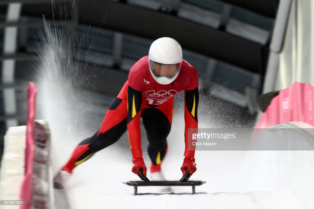 Wenqiang Geng of China trains during the Mens Skeleton training session on day four of the PyeongChang 2018 Winter Olympic Games at Olympic Sliding Centre on February 13, 2018 in Pyeongchang-gun, South Korea.