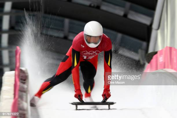 Wenqiang Geng of China trains during the Mens Skeleton training session on day four of the PyeongChang 2018 Winter Olympic Games at Olympic Sliding...