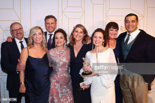 Wentworth crew pose with the award for most popular drama at the 60th Annual Logie Awards at The Star Gold Coast on July 1 2018 in Gold Coast...