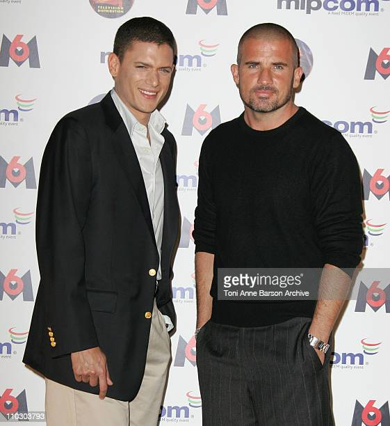 Wentworth Miller and Dominic Purcell during MIPCOM 2006 Opening Night Party With Faf LaRage and 'Prison Break' Cast Arrivals at Majestic Hotel in...
