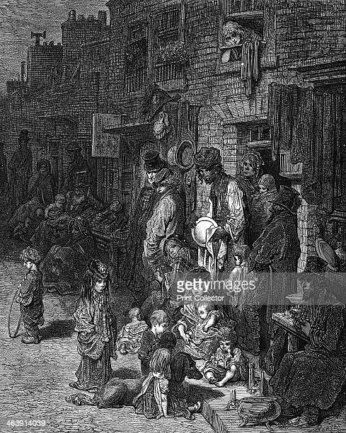 'Wentworth Street Whitechapel' London 1872 A scene depicting life in the poor Jewish quarter of the city From London A Pilgrimage by Blanchard...