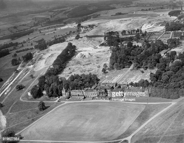 Wentworth Woodhouse, Rotherham, South Yorkshire, 1946. Aerial view showing the scars of opencast coal mining on the estate behind the house.