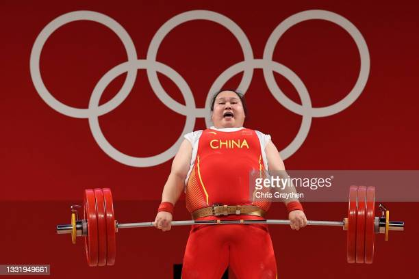 Wenwen Li of Team China competes during the Weightlifting - Women's 87kg+ Group A on day ten of the Tokyo 2020 Olympic Games at Tokyo International...