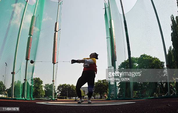 Wenxiu Zhang of China competes during the women hammerthrow at the Zlata Tretra athletic meeting on May 30 2011 in the eastern Czech city of Ostrava...