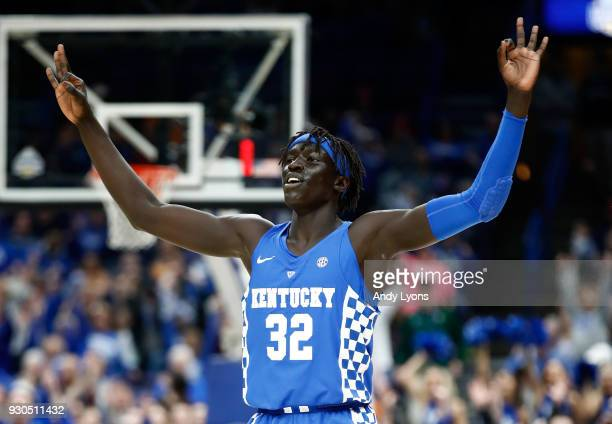 Wenyen Gabriel of the Kentucky Wildcats celebrates after making a three point shot against the Tennessee Volunteers during the Championship game of...