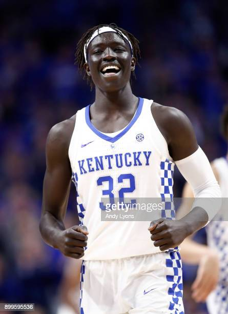 Wenyen Gabriel of the Kentucky Wildcats celebrates against the Louisville Cardinals during the game at Rupp Arena on December 29 2017 in Lexington...