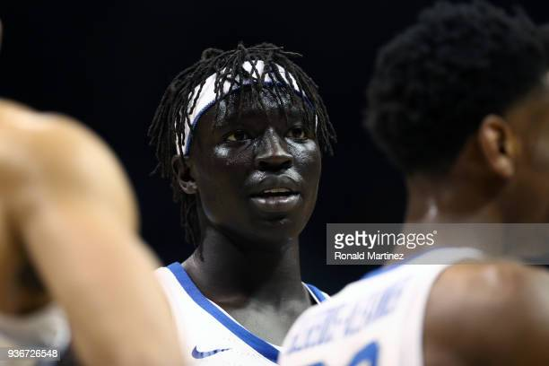 Wenyen Gabriel of the Kentucky Wildcats looks on against the Kansas State Wildcats in the first half during the 2018 NCAA Men's Basketball Tournament...