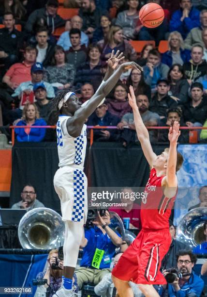 Wenyen Gabriel of the Kentucky Wildcats shoots from the sidelines during the NCAA Division I Men's Championship First Round game between the Kentucky...