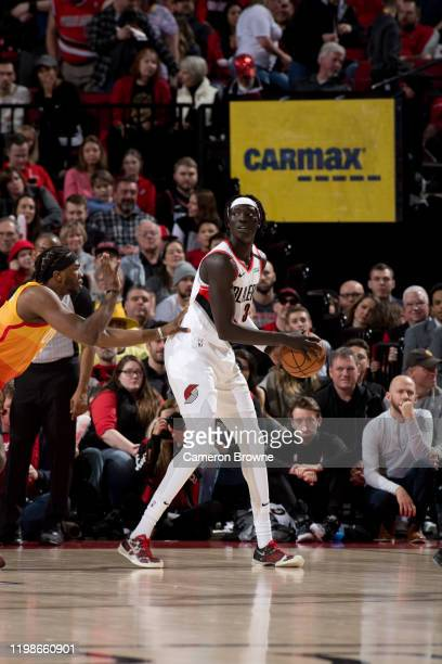 Wenyen Gabriel of the Portland Trail Blazers handles the ball during the game against the Utah Jazz on February 1 2020 at the Moda Center Arena in...