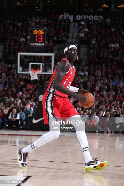 Wenyen Gabriel of the Portland Trail Blazers handles the ball during the game against the Detroit Pistons on February 23 2020 at the Moda Center...