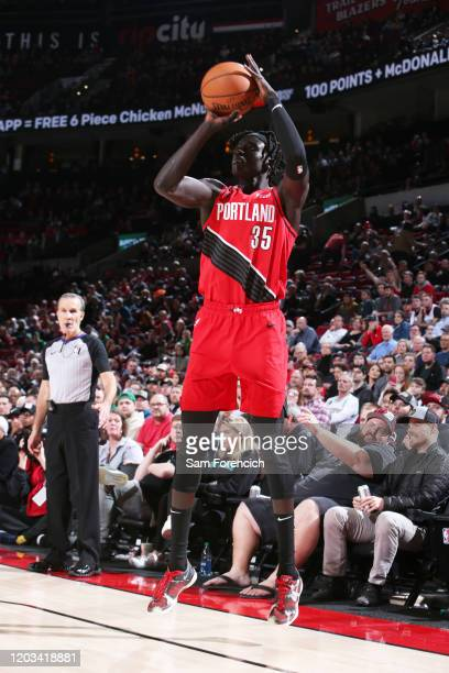 Wenyen Gabriel of the Portland Trail Blazers shoots a threepointer against the Boston Celtics on February 25 2020 at the Moda Center Arena in...