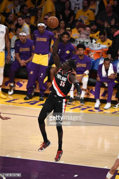 Wenyen Gabriel of the Portland Trail Blazers shoots the ball against the Los Angeles Lakers on January 31 2020 at STAPLES Center in Los Angeles...