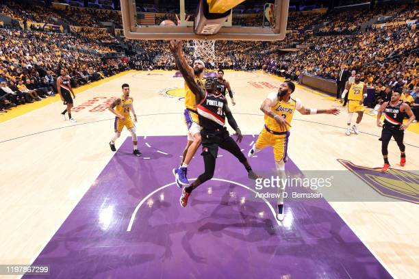 Wenyen Gabriel of the Portland Trail Blazers shoots the ball during the game against the Los Angeles Lakers on January 31 2020 at STAPLES Center in...