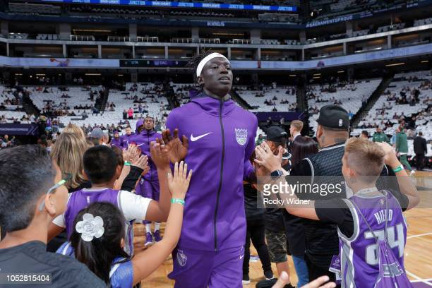 Wenyen Gabriel of the Sacramento Kings greets fans prior to the game against the Utah Jazz on October 17 2018 at Golden 1 Center in Sacramento...