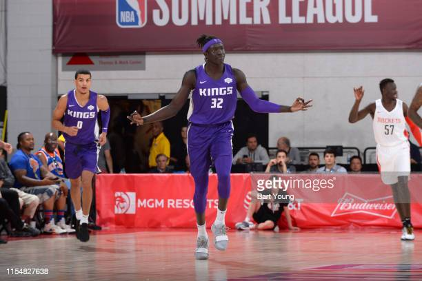 Wenyen Gabriel of the Sacramento Kings reacts to a play during the game against the Houston Rockets on July 9 2019 at the Cox Pavilion in Las Vegas...