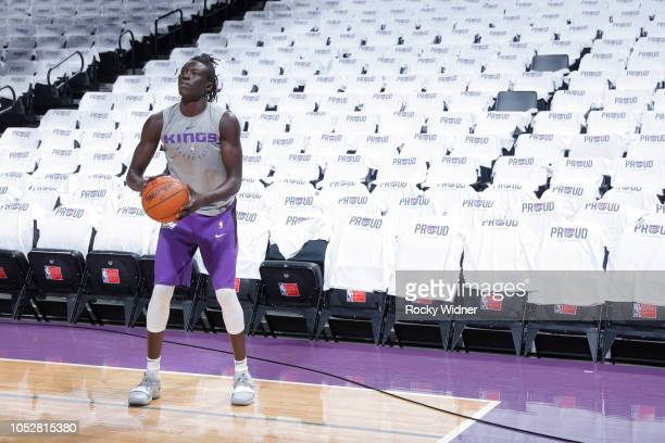 Wenyen Gabriel of the Sacramento Kings warms up against the Utah Jazz on October 17 2018 at Golden 1 Center in Sacramento California NOTE TO USER...