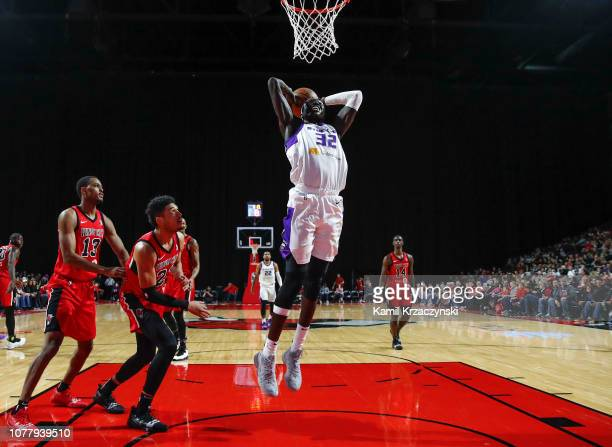 Wenyen Gabriel of the Stockton Kings goes up for dunk against the Windy City Bulls on January 5 2019 at Sears Centre Arena in Hoffman Estates...