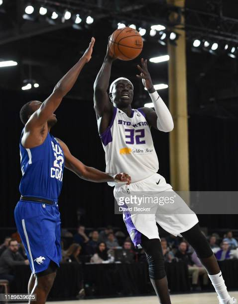 Wenyen Gabriel of the Stockton Kings looks to pass the ball against the Delaware Blue Coats during the NBA G League Winter Showcase at Mandalay Bay...