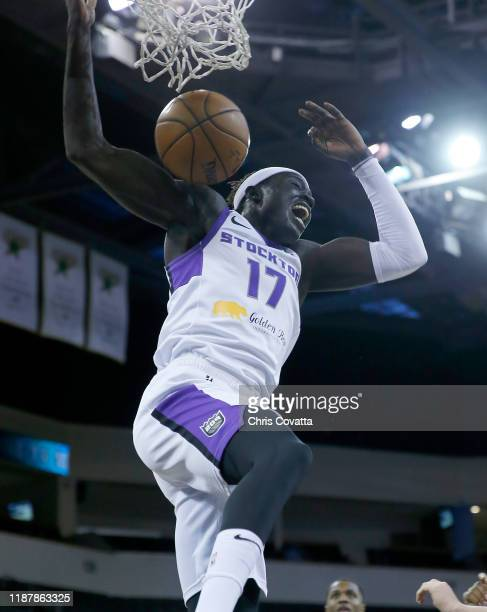 Wenyen Gabriel of the Stockton Kings slam dunks against the Austin Spurs during a NBA GLeague game on December 10 2019 at the HEB Center At Cedar...