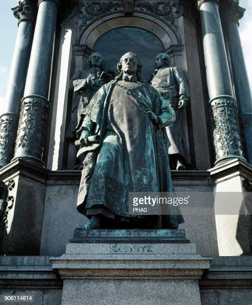 Wenzel Anton prince von KaunitzRietberg Austrian statesman Statue part of the Maria Theresia monument By Kaspar von Zumbusch 1888 MariaTheresien...