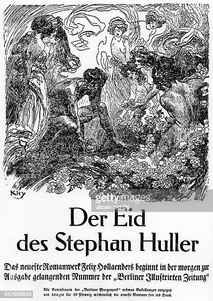Werbung für die Berliner Morgenpost / Berliner Illustrirten Zeitung mit dem TextDer Eid des Stephan Huller veröffentlicht Berliner Morgenpost...