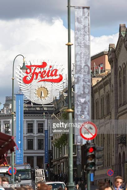 Werbung für Freia Schokolade auf dem Boulevard Karl Johans Gate in Oslo