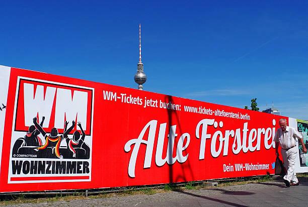 Werbung fuers WM-Wohnzimmer Alte Försterei Berlin Pictures | Getty ...