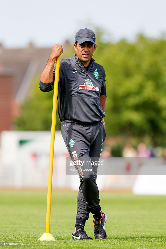 Werder Bremen coach, Robin Dutt looks on during a training session on July 2, 2013 in Norderney, Germany.
