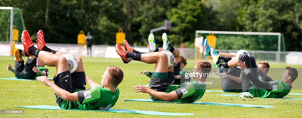 Werder Bremen players in action during a training session on July 2, 2013 in Norderney, Germany.