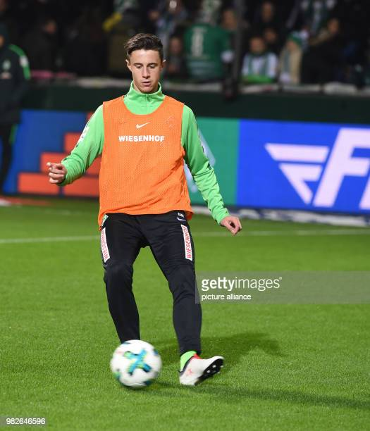 Werder's new signing Marco Friedl warming up for the German Bundesliga football match between Werder Bremen and Hertha BSC Berlin at the Weserstadion...
