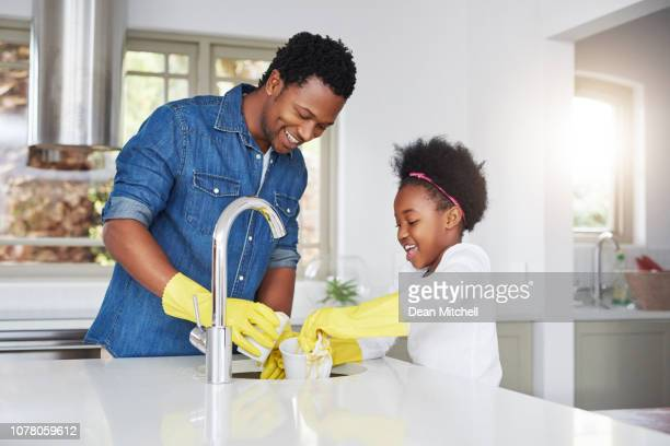 we're giving mom the day off - kids with cleaning rubber gloves stock pictures, royalty-free photos & images