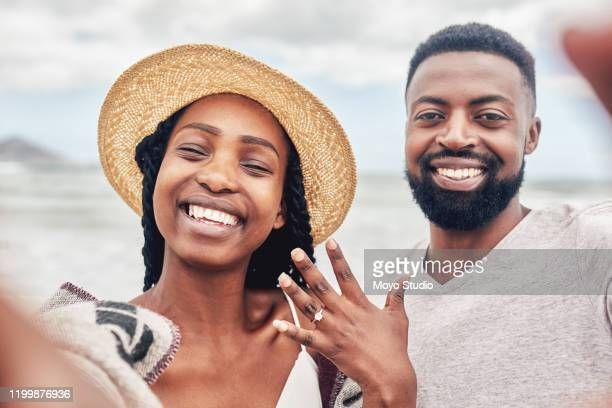 we're going to be together forever! - black women engagement rings stock pictures, royalty-free photos & images