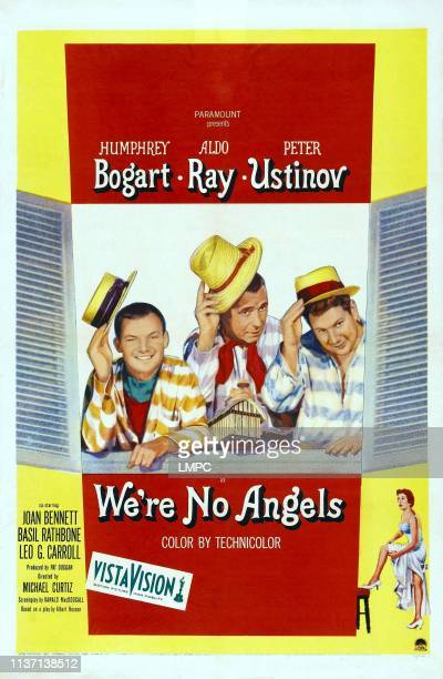 We're No Angels poster US poster art from left Aldo Ray Humphrey Bogart Peter Ustinov 1955