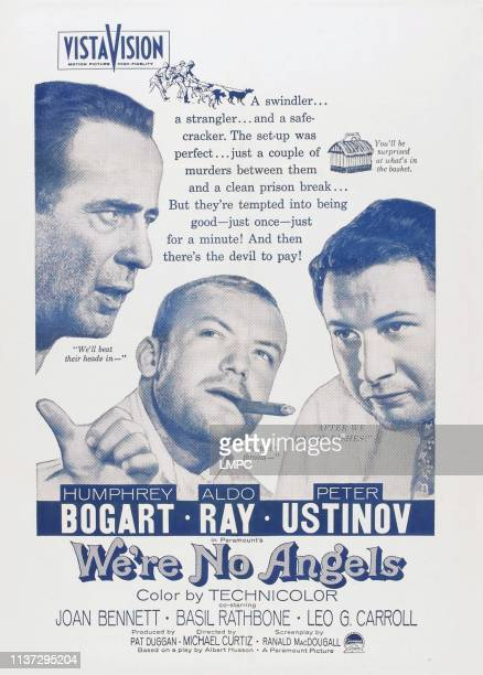 We're No Angels poster US poster from left Humphrey Bogart Aldo Ray Peter Ustinov 1955