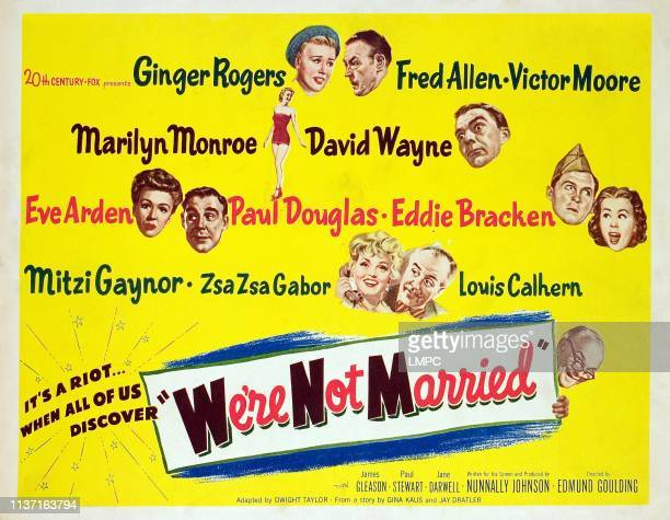 We're Not Married!, lobbycard, Ginger Rogers, Fred Allen, Marilyn Monroe, David Wayne, Eve Arden, Paul Douglas, Eddie Bracken, Mitzi Gaynor, Zsa Zsa...