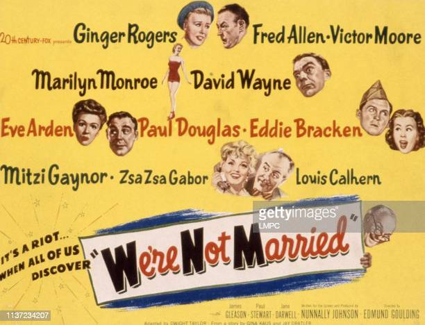 We're Not Married!, lobbycard, Ginger Rogers, Fred Allen, Mariyln Monroe, David Wayne, Eve Arden, Paul Douglas, Eddie Bracken, Mitzi Gaynor, Zsa Zsa...