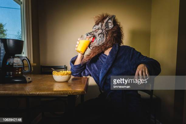 werewolf man eating breakfast on a lazy weekend morning - werewolf stock photos and pictures
